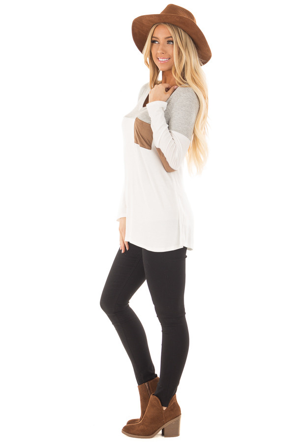 Heather Grey and Ivory Top with Faux Suede Pocket side full body