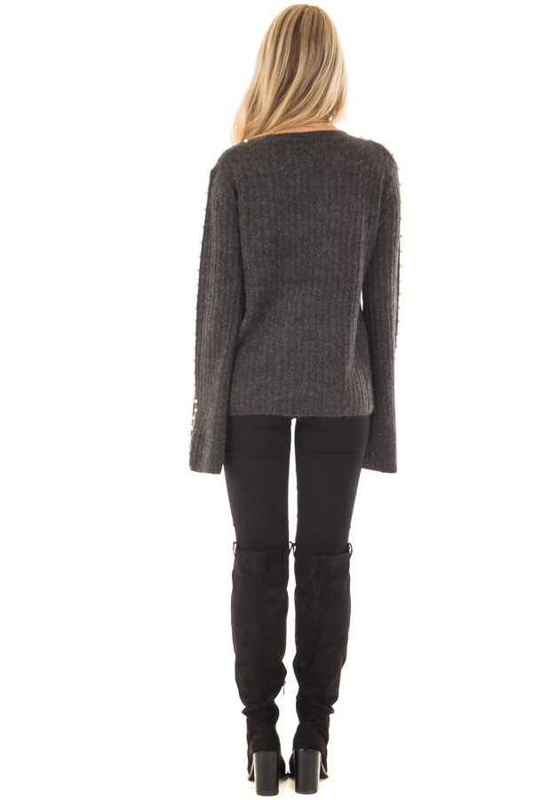 Charcoal Sweater with Pearl Detailed Long Flowy Sleeves back full body