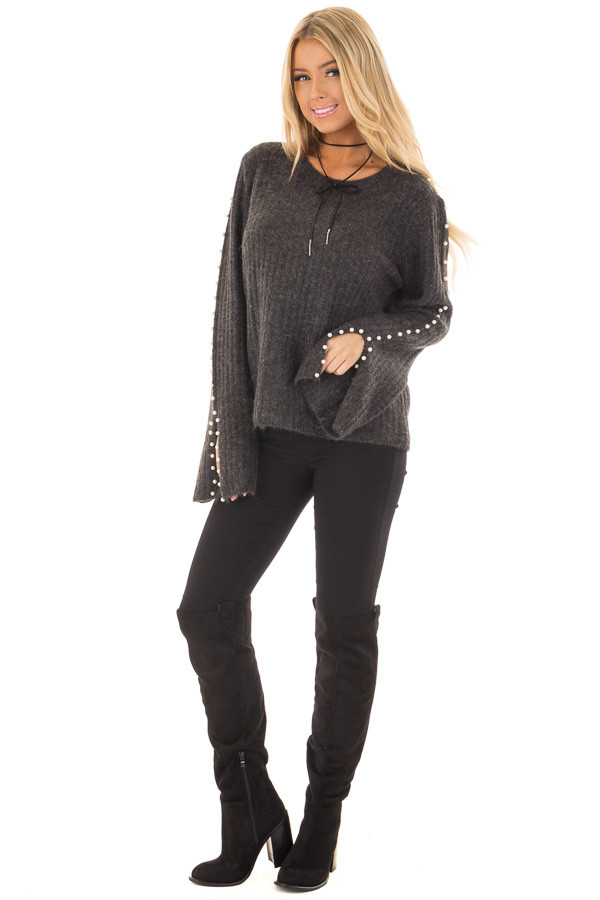 Charcoal Sweater with Pearl Detailed Long Flowy Sleeves front full body