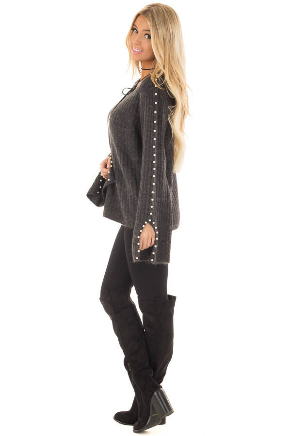 Charcoal Sweater with Pearl Detailed Long Flowy Sleeves - Lime ...