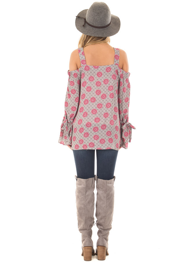 Heather Grey and Magenta Button Up Cold Shoulder Top back full body