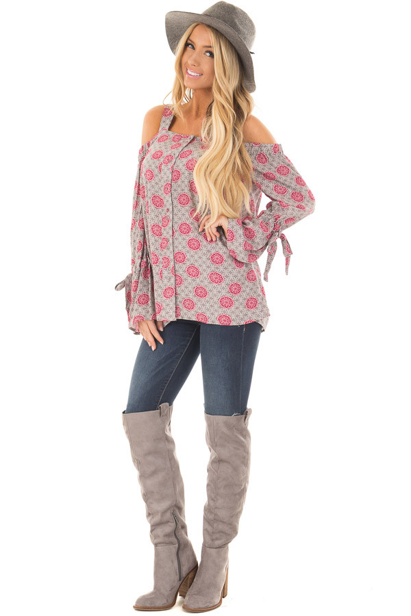 Heather Grey and Magenta Button Up Cold Shoulder Top front full body