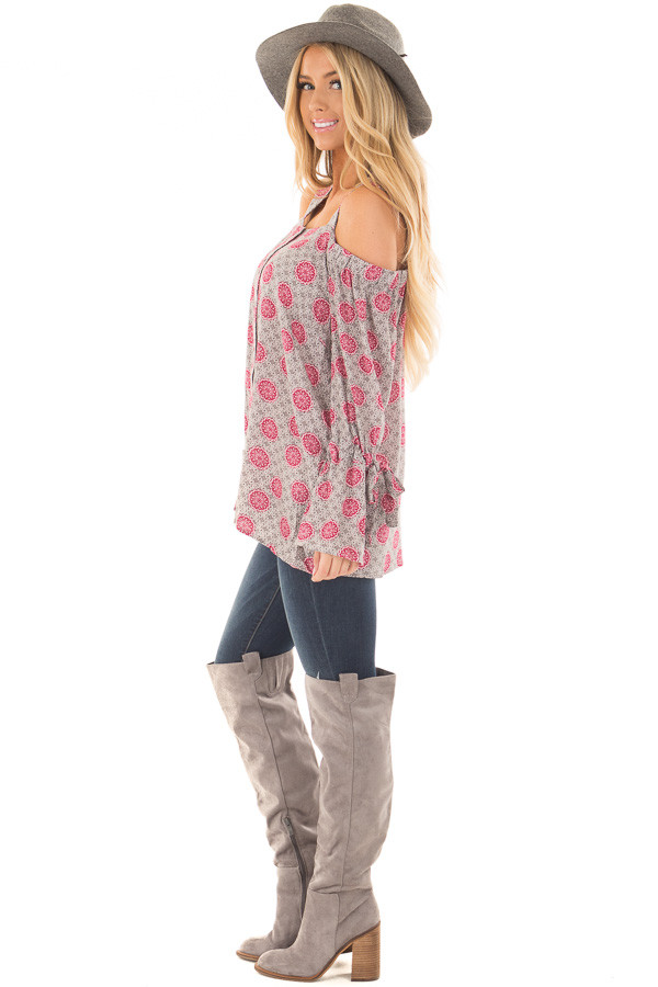 Heather Grey and Magenta Button Up Cold Shoulder Top side full body