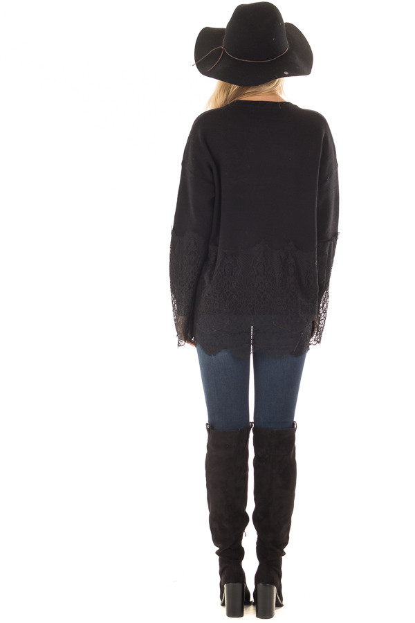 Black Super Soft Sweater with Scalloped Lace Details back full body