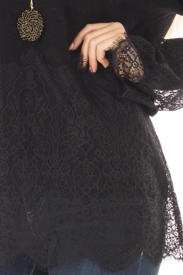 Black Super Soft Sweater with Scalloped Lace Details front detail