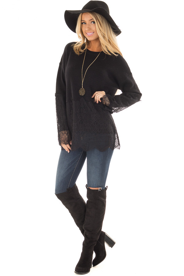 Black Super Soft Sweater with Scalloped Lace Details front full body