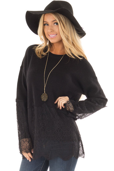 Black Super Soft Sweater with Scalloped Lace Details front closeup