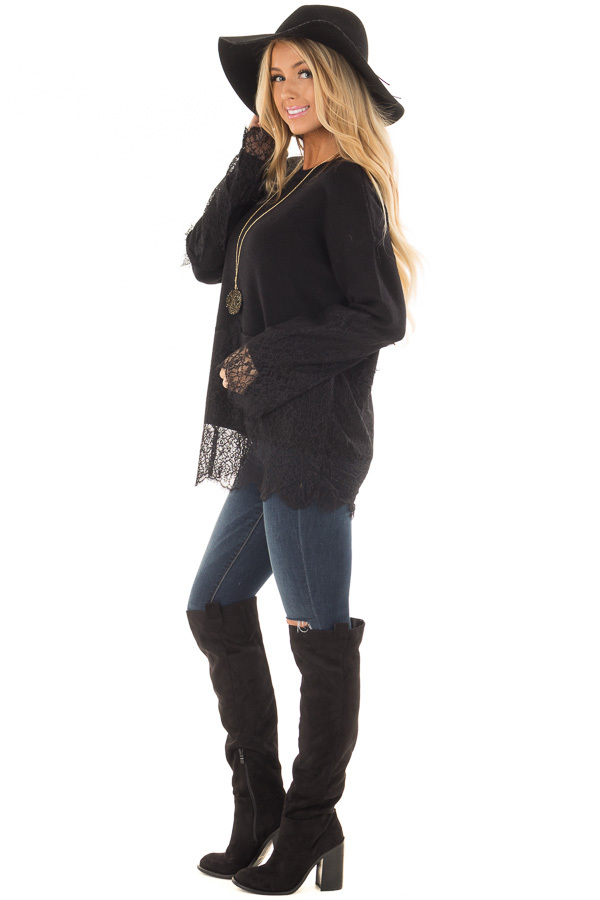 Black Super Soft Sweater with Scalloped Lace Details side full body