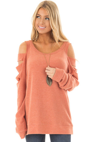 Light Rust Raglan Top with Ladder Sleeves front closeup
