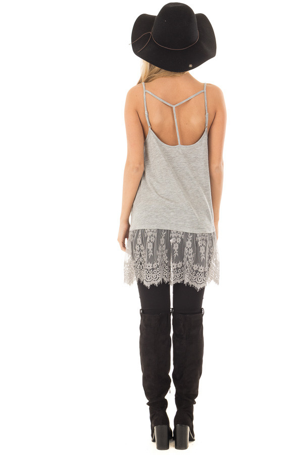 Heather Grey Strappy Tank Top with Sheer Lace Hem back full body
