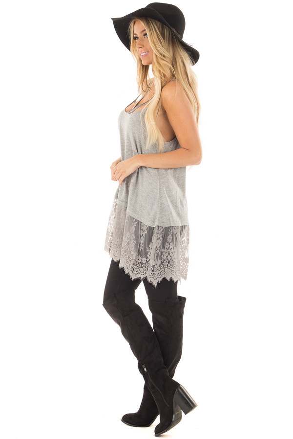 Heather Grey Strappy Tank Top with Sheer Lace Hem side full body