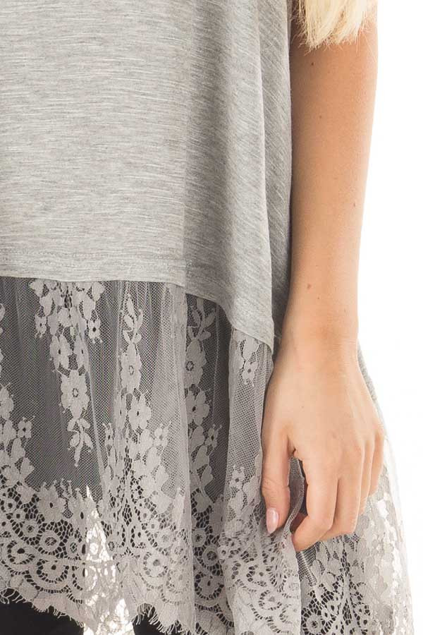 Heather Grey Strappy Tank Top with Sheer Lace Hem front detail