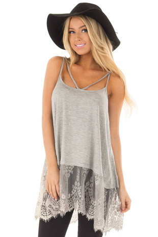 Heather Grey Strappy Tank Top with Sheer Lace Hem front closeup