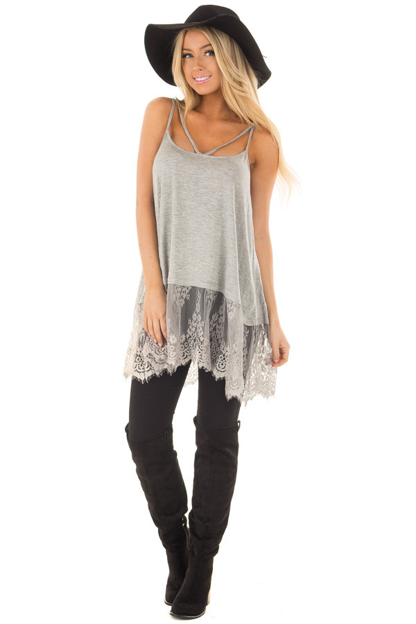 Heather Grey Strappy Tank Top with Sheer Lace Hem front full body