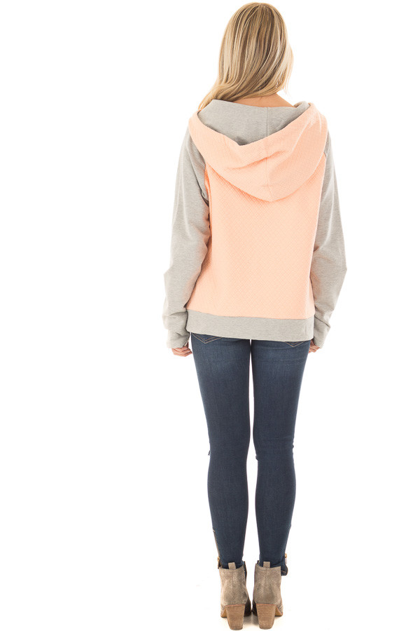 Blush and Heather Grey Hoodie with Front Pockets back full body