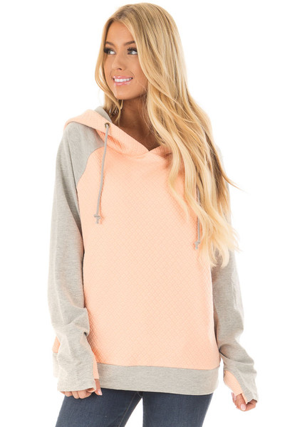 Blush and Heather Grey Hoodie with Front Pockets front closeup