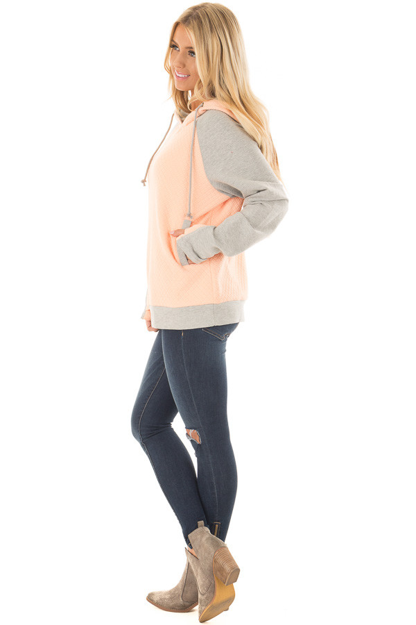 Blush and Heather Grey Hoodie with Front Pockets side full body