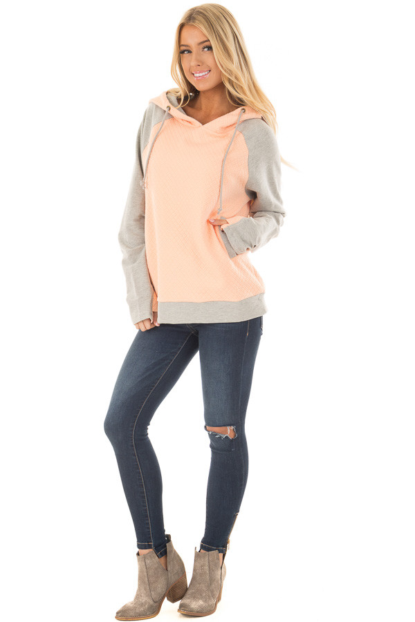 Blush and Heather Grey Hoodie with Front Pockets front full body