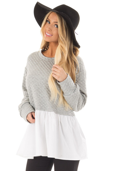 Heather Grey Quilted Sweater with White Contrast front close up