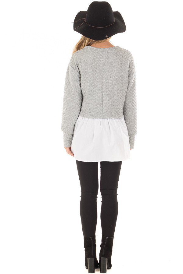 Heather Grey Quilted Sweater with White Contrast back full body