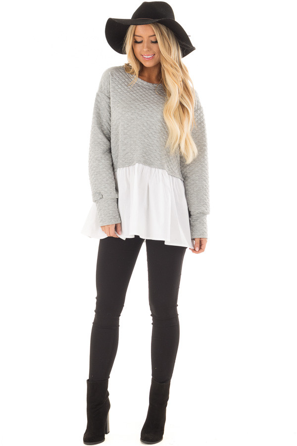 Heather Grey Quilted Sweater with White Contrast front full body