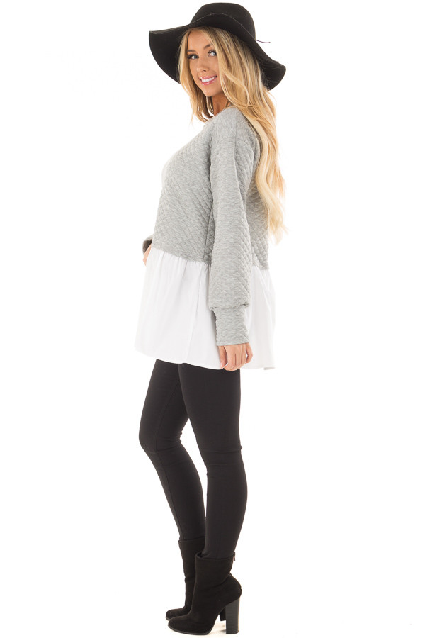Heather Grey Quilted Sweater with White Contrast side full body