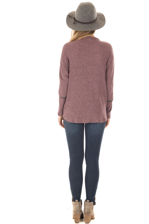 Plum Dolman Sleeve Top with Stitching Details back full body