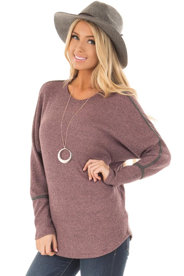 Plum Dolman Sleeve Top with Stitching Details front closeup