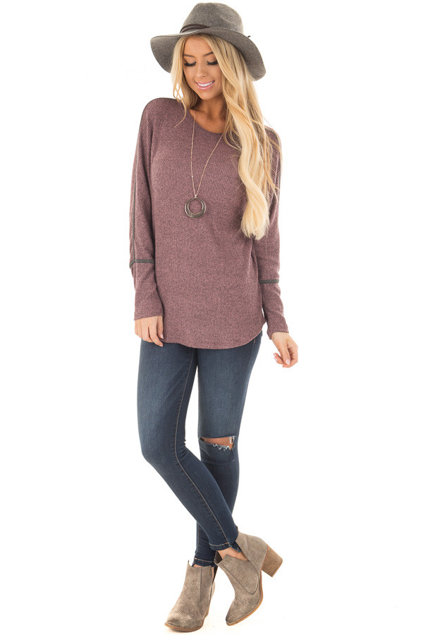 Plum Dolman Sleeve Top with Stitching Details front full body