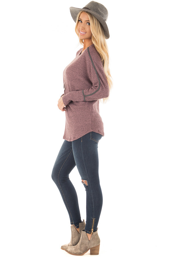 Plum Dolman Sleeve Top with Stitching Details side full body