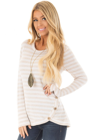 Oatmeal and Ivory Striped Top with Button Details front close up