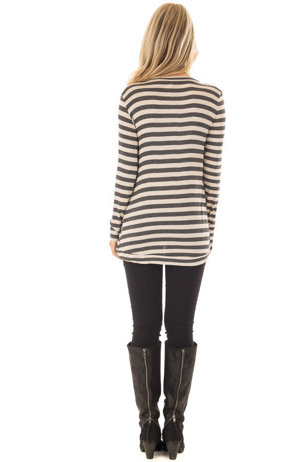 Charcoal and Taupe Striped Top with Button Details back full body
