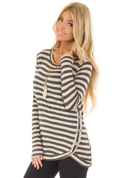 Charcoal and Taupe Striped Top with Button Details front close up