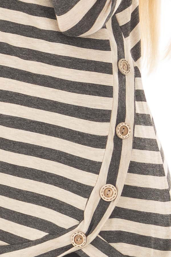 Charcoal and Taupe Striped Top with Button Details detail