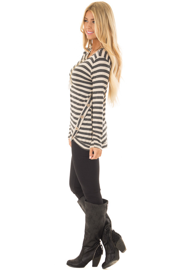 Charcoal and Taupe Striped Top with Button Details side full body