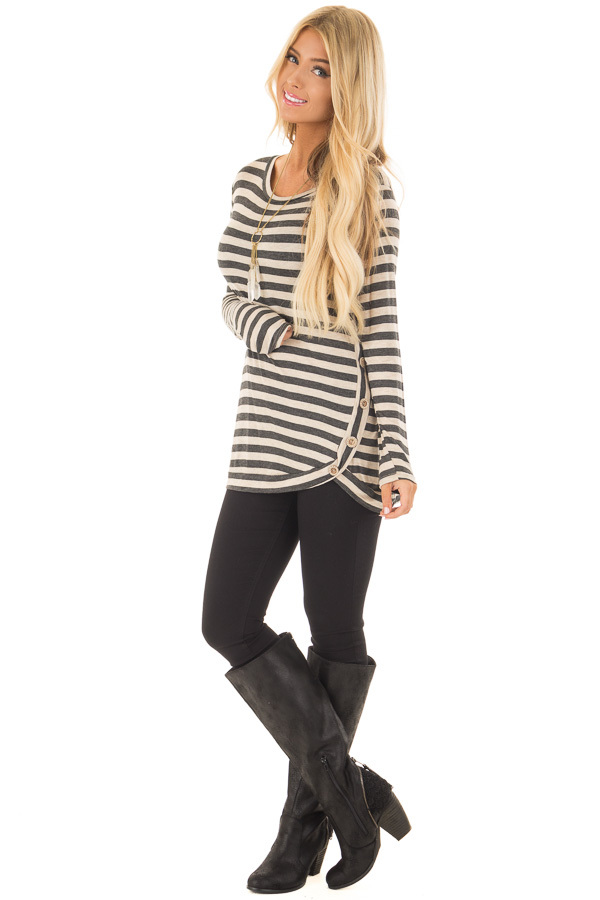 Charcoal and Taupe Striped Top with Button Details front full body