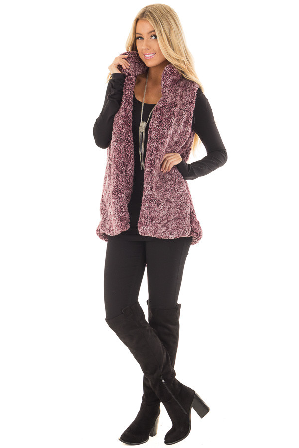 Burgundy Soft Faux Fur Vest with Hidden Pockets front full body