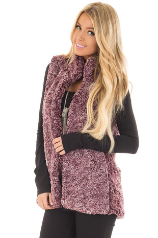 Burgundy Soft Faux Fur Vest with Hidden Pockets front close up