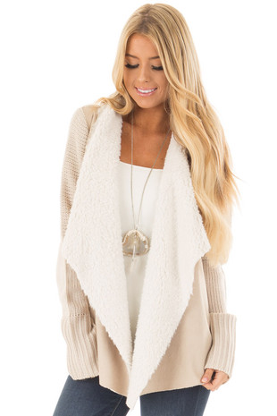 Sand Knit Cardigan with Faux Fur Lining and Faux Suede Front front close up