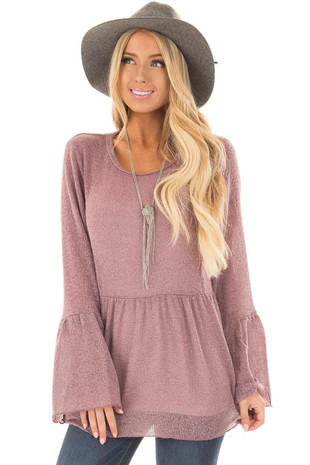 Mauve Babydoll Sweater with Long Bell Sleeves front close up