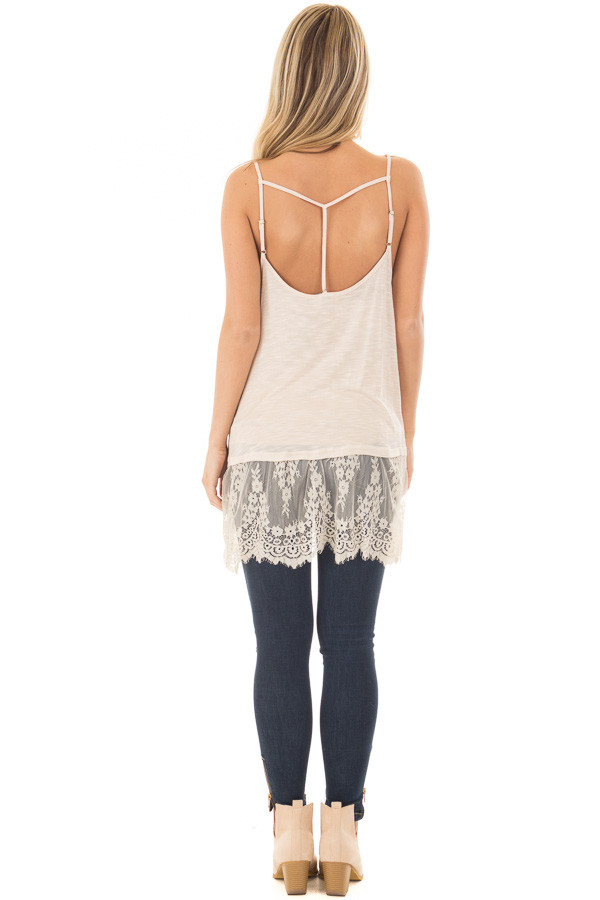 Sand Strappy Tank Top with Sheer Lace Hem back full body