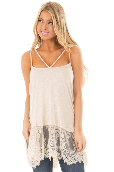 Sand Strappy Tank Top with Sheer Lace Hem front close up