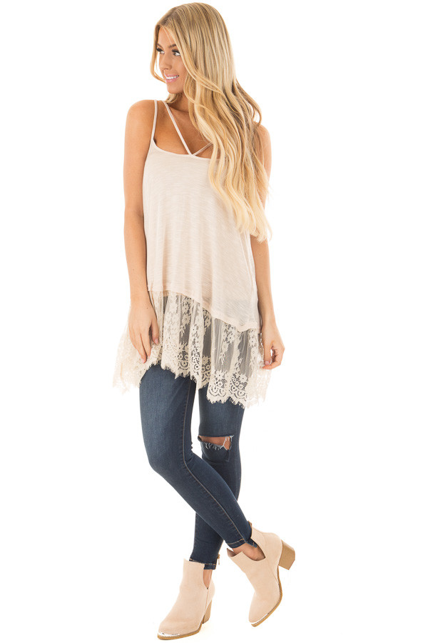 Sand Strappy Tank Top with Sheer Lace Hem front full body