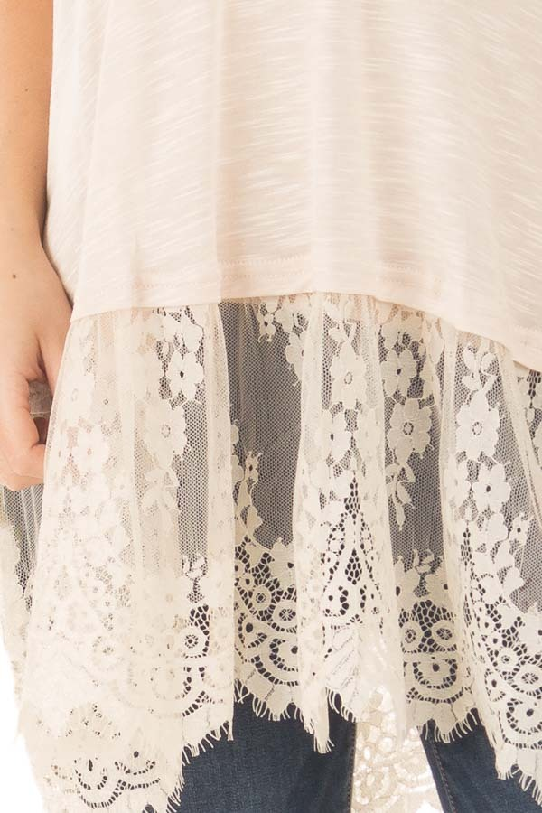 Sand Strappy Tank Top with Sheer Lace Hem detail