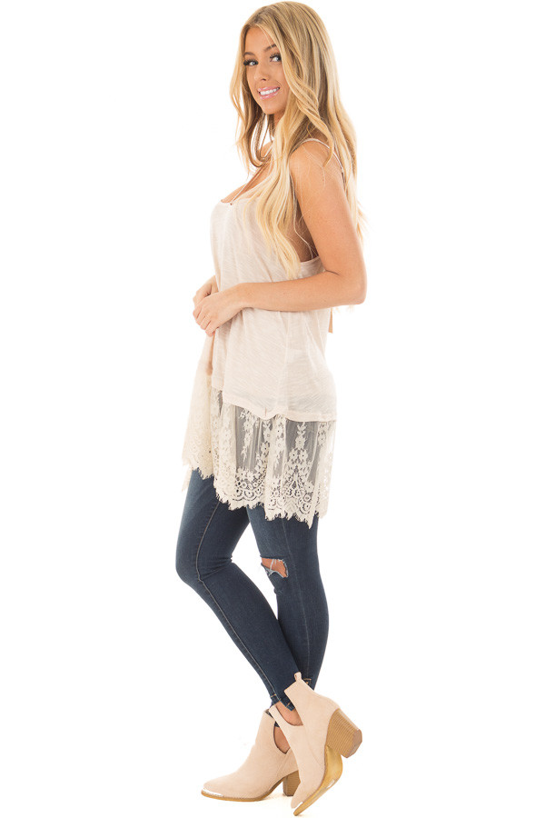Sand Strappy Tank Top with Sheer Lace Hem side full body