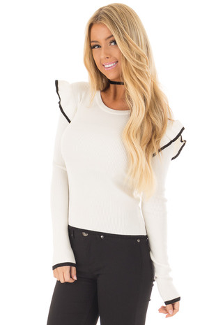 Ivory Long Sleeve Top with Ruffled and Black Details front close up