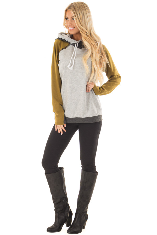 Heather Grey Hoodie with Olive and Charcoal Color Blocks front full body