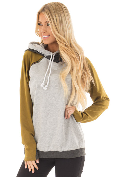 Heather Grey Hoodie with Olive and Charcoal Color Blocks front close up