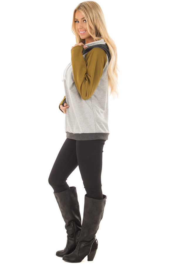 Heather Grey Hoodie with Olive and Charcoal Color Blocks side full body