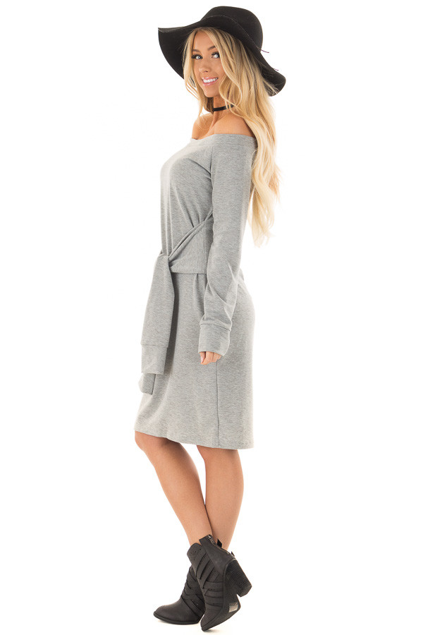 Heather Grey Off the Shoulder Dress with Waist Tie side full body
